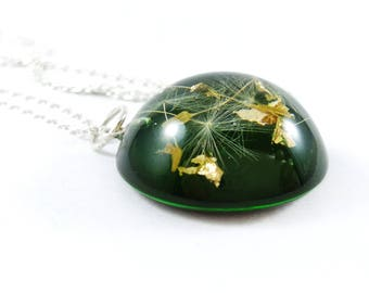 Dandelion necklace Botanical jewelry Terrarium jewelry Make a wish necklace Mothers day gift for mom Resin jewelry Green necklace for women