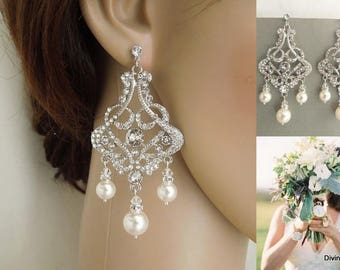 Bridal Pearl Earrings Chandelier Earrings ivory swarovski pearl Statement bridal earrings Pearl Bridal Earrings wedding earring ALEXA