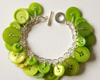 Button Charm Bracelet Bright Tropical Lime Green