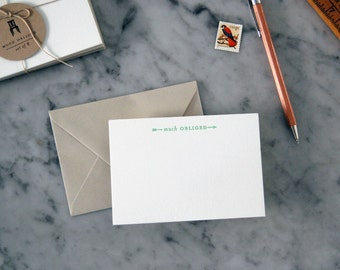 Much Obliged Letterpress Thank You Notes — Set of 8 Arrow Thank You Cards