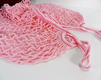 Reusable Tote, Cotton String Bag, Farmer's Market or Beach Bag