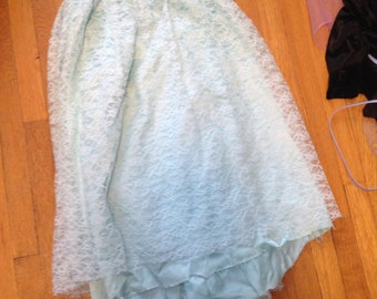 handmade blue lace long skirt