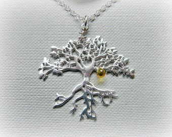 Sapphire tree of life pendant, silver tree necklace, yellow sapphire necklace, September birthstone, sterling silver tree pendant