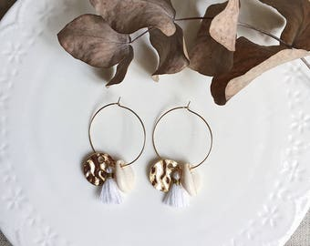 JULIE hoops with hammered, white tassel and shell