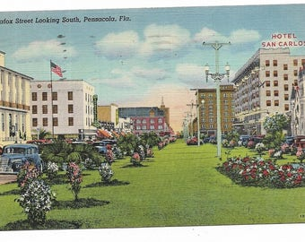 Vintage Florida Linen Postcard Pensacola Palafox Street Looking South USED