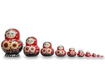 "7"" Set of 10 Daisy Flowers on Red Dress Russian Nesting Dolls Matryoshka"