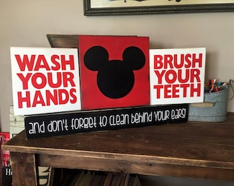 Mickey Mouse Wash Your Hands Brush Your Teeth Bathroom Signs Set of 4