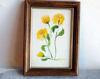 Vintage Small Framed Original Watercolor - Botanical Painting of Yellow Daisies or Sunflowers, Green Leaves - 5 x 7 - Wooden Frame, Glass