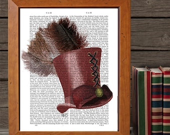 Marsala Top Hat & Ostrich Feather  burgundy wall art burgundy decor marsala room decor marsala art print living room decor steampunk top hat
