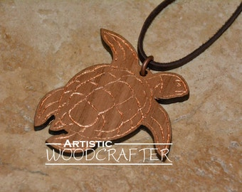 Wooden Turtle Necklace (Walnut with Bronze highlights)