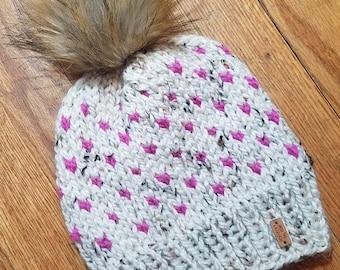 Chunky Fair Isle Knit Hat - Ivory Tweed/Fuschia - Beanie - Knitted Hat - Knitted Beanie - Faux Fur Pom Pom - Winter Hat - With Pom Pom