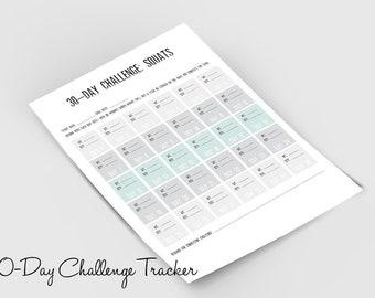 30-day Challenge: Squats Tracker Printable