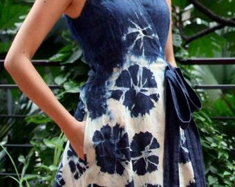 tie-dye denim wrap dress