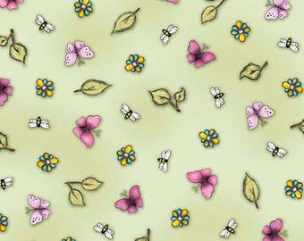 1649-26206-G BIRDS OF A Feather, Quilt Fabric, Butterfly & Leaf Toss, Sontora Gorguss, Quilting Treasures, Sewing Material, Bees