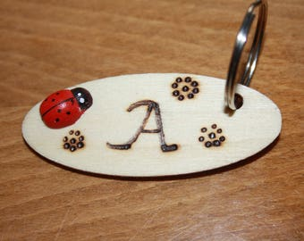 Initial (Pyrography) Key Rings, Buy your very own Initial Key Ring made from Wood, Hand made, Decorated with a Tiny Lady Bird