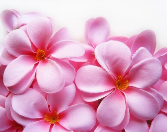 24 Pink Plumeria Frangipani Heads - Artificial Silk Flower - 3 inches - Wholesale Lot - for Wedding Work, Make Hair clips, headbands, hats