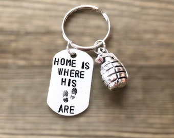 Home Is Where His Boots Are Military Keychain | Armed Forces Keychain | Military Keychain