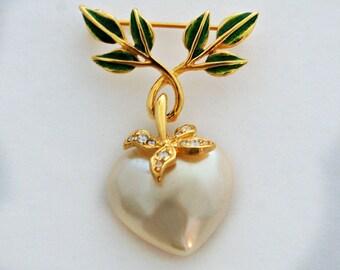 Vintage Joan Rivers heart & leaves bling dangle brooch, faux pearl green enamel gold tone rhinestone articulated designer statement book pin