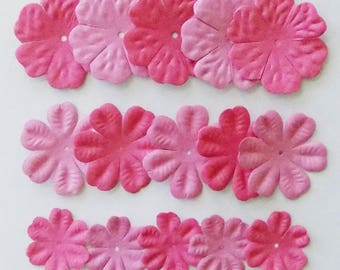 Paper Flower, 15 Pink Flower Embellishments, Paper Flowers for Crafts, Craft Paper Flowers, Pink Flowers, Scrapbooking, Card Making, Crafts