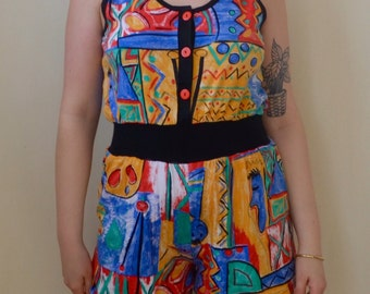 So 90s kid colorful abstract print shorts playsuit- S/M