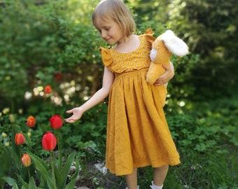 Girl linen dress, toddler linen dress, girl yellow dress, toddler linen outfit, girl linen clothing, yellow linen dress, mustard girl dress