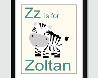 V - W - X - Y - Z  is for Name Wall Art - Children Nursery Wall Print Poster with Personalized Name
