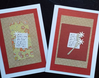 Set of 2 'Just a Quick Note' Greeting Cards Blank with Envelopes