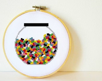 Counted Cross stitch Pattern PDF. Instant download. Jellybean Jar. Includes easy beginners instructions.
