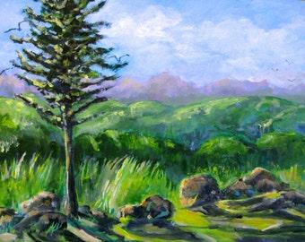 "Vermont Landscape Acrylic Painting Aqua Board  Original Art New England Mountains 12"" x 16"" carlie DeGaetano"