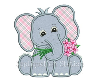 Zoo Baby Elephant holding flowers Applique Machine Embroidery Design spring daisy  INSTANT DOWNLOAD