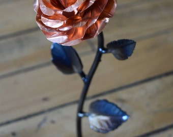 Metal Rose • Copper • Iron Anniversary • 6th Anniversary • Hand Forged • Wrought Iron • Blacksmith • Personalized Gift • Valentines Day