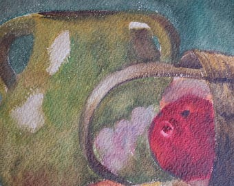 1900s French antique watercolour, still life 'nature morte', apple, basket in kitchen painting, green pottery paper, Vintage Collectible