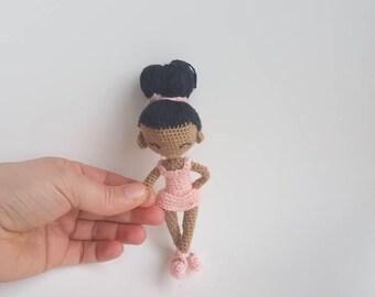 Crochet tiny ballerina doll