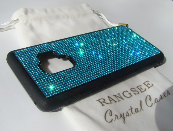 Galaxy s9 Case,  Aquamarine Blue Rhinestone Crystals on Black Rubber Case. Velvet/Silk Pouch Bag Included,
