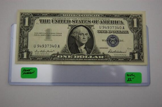 One Dollar Silver Certificate-1957 Blue Seal Light NOT
