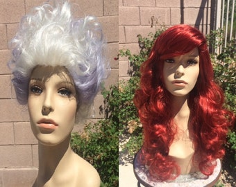 Bundle Couture Ursula Sea Witch Little Mermaid And Ariel Fire Red Wave Wig