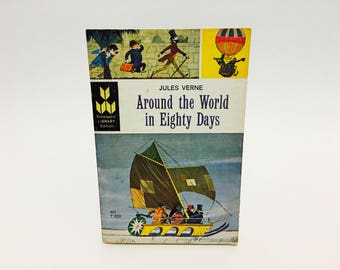 Vintage Sci Fi Book Around the World in 80 Days by Jules Verne 1964 Paperback Classics