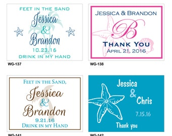 60 - 4x3 Glossy Waterproof Destination Beach Wedding Stickers - hundreds of designs to choose - change designs to any color or wording