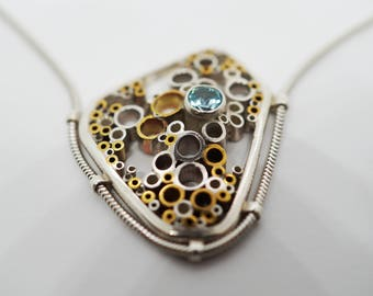 Organic Cell - Solid Sterling Silver and Brass Set with a Sky Blue Topaz Necklace.