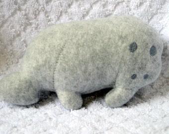 Handmade Stuffed Gray Fleece Manatee