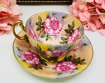 Aynsley cabbage rose teacup and saucer.