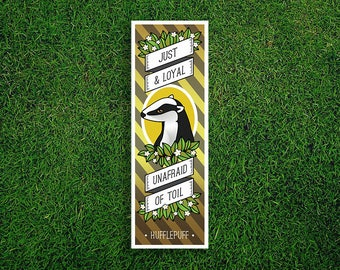 Long Bookmark | Hufflepuff Bookmark Just & Loyal Unafraid Of Toil Hogwarts Houses Bookmark Sorting Hat Quidditch Harry Potter Bookmark