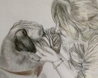 Commissioned Pet Portrait Dog Portrait Drawing