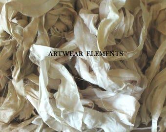 Remnant Cud, Mixed Ivory Shades, Variety Of Longer Lengths, Pure Sari Silk Remnants, Tassel Silk, Doll Cud, Embellishing, ArtWear Elements