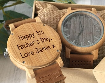 Personalised 1st Father's Day Gift Wooden Watch Engraved with a leather strap and gift box - Daddy watch - gift for him style 3