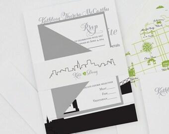 Modern San Francisco Wedding Invitation,SF Wedding Invitations,San Francisco Skyline Wedding Invites,Any City Skyline Wedding Invitations