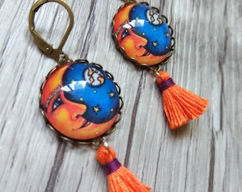 Tassel Earrings, Boho Fringe Earrings, Orange Drop Earrings, Gypsy Moon Earrings, Blue and Orange Tassel Earrings