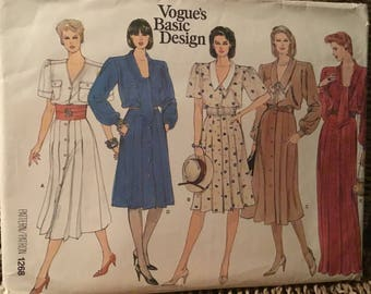 Retro vogue design pattern  1268-size 8 -10- 12 loose  dress- short-long sleeves- buttons down front-choice of collar or not and belt .