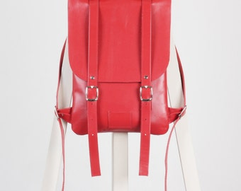 Hot red leather backpack rucksack / In stock / Red Leather Backpack / Leather backpack / Leather rucksack / Womens backpack / Gift