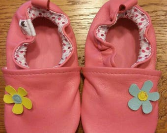 leather baby shoes soft flower
